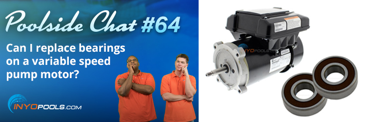 Can I replace bearings on a variable speed pump motor?